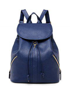 Zippers PU Leather Drawstring Backpack - Deep Blue