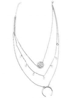 Multilayered Blossom Beads Circle Alloy Necklace - Silver