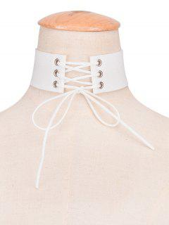 Faux Leather Velvet Bows Choker - White