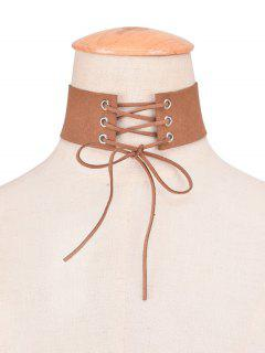 Faux Leather Velvet Bows Choker - Brown