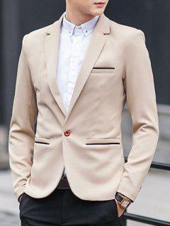One-Button Metal Embellished Lapel Long Sleeve Slimming Blazer - Khaki 2xl
