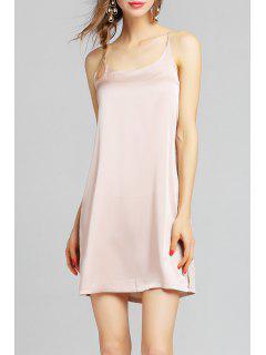 Backless Slit Slip Dress - Apricot S