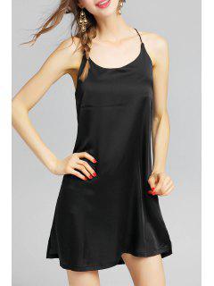 Backless Slit Slip Dress - Black S