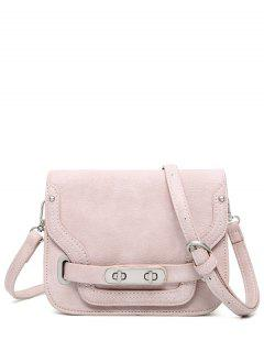 Stitching Double Hasp Crossbody Bag - Pink
