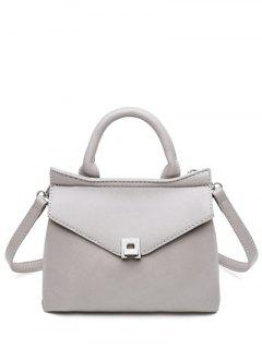 Stitching Hasp Mini Tote Bag - Gray