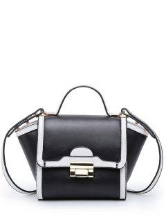 Colour Splicing Metal PU Leather Crossbody Bag - White And Black