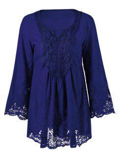 Lace Trim Tunic Blouse - Deep Blue Xl