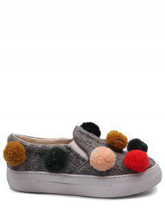 Pompoms Knitting Elastic Flat Shoes - Gray 38