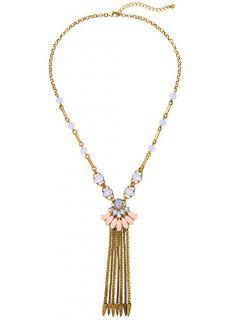 Rhinestone Chain Fringe Necklace - Golden