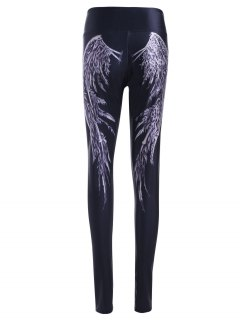 Wing Pattern High Waist Skinny Pants - Black