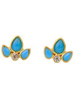 Rhinestone Leaf Stud Earrings - Blue