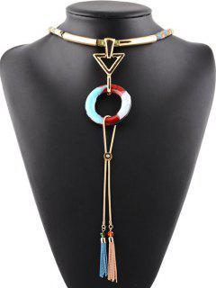Rhinestone Alloy Triangle Tassel Chains Necklace - Gray