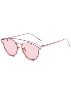 Transparent Lens Crossbar Butterfly Sunglasses - Pink