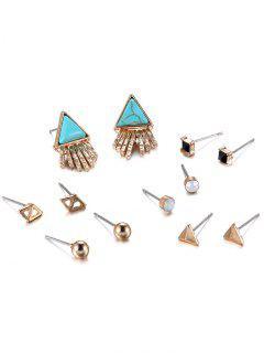 Rhinestone Faux Rammel Geometric Beads Earrings - Blue