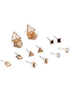 Rhinestone Faux Rammel Geometric Beads Earrings - Khaki