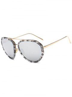 Oversized Marble Mirrored Sunglasses - Gray