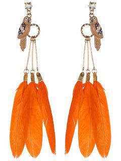 Rhinestone Alloy Bird Feather Drop Earrings - Orange
