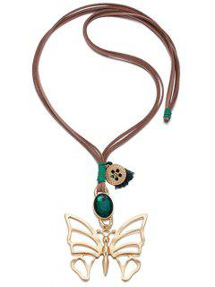 Faux Emerald Oval Alloy Butterfly Necklace - Green