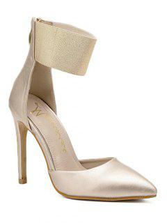 Elastic Band Stiletto Heel Pumps - Golden 38