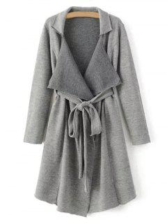 Lapel Belted Longline Cardigan - Gray S