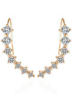 Alloy Rhinestoned Earrings - White And Golden