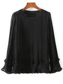 Long Sleeve Pleated Blouse - Black S