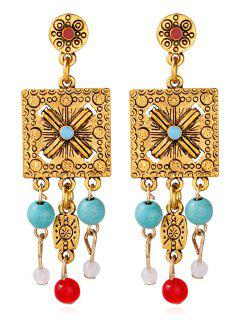 Engraved Floral Alloy Geometric Beads Earrings - Golden