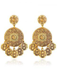 Engraved Round Pattern Alloy Drop Earrings - Golden