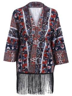 Printed Fringed Kimono - M