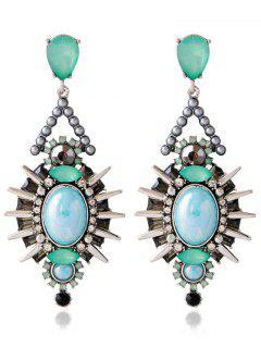 Artificial Crystal Rivets Alloy Geometric Earrings - Blue