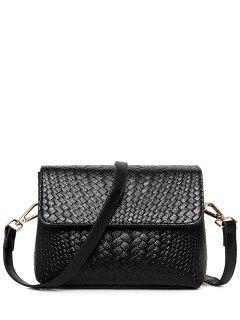 Woven PU Leather Crossbody Bag - Black