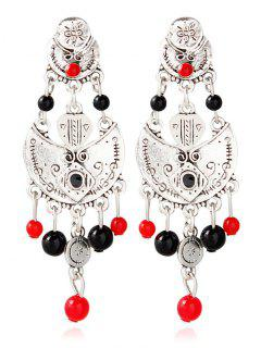 Alloy Engraved Beaded Earrings - Silver