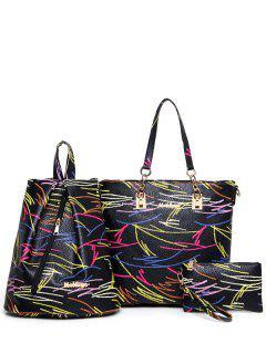 Colorful Stipes Metal Shoulder Bag - Black