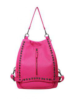 Buckles Zip Rivet Backpack - Rose Red