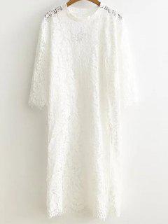 Side Slit Dentelle Robe Droite - Blanc