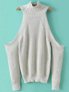 Stehkragen Schulter Pullover - Weiß