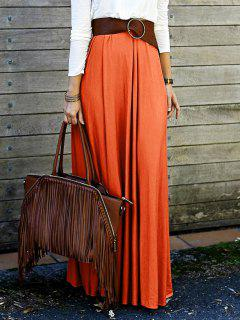 Solid Color High Waisted Long Skirt - Orange M