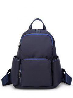Casual PU Spliced Nylon Backpack - Blue