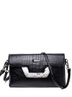 Crocodile Print Color Splicing Metal Crossbody Bag - Black