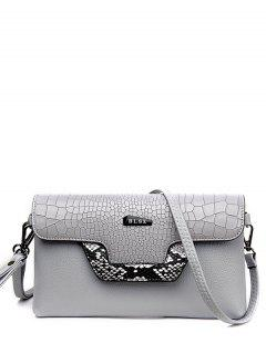 Crocodile Print Color Splicing Metal Crossbody Bag - Light Gray