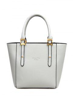 Buckles Metal PU Leather Tote Bag - Light Gray