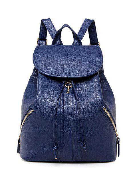 Zippers PU cuir Drawstring Backpack - Bleu Foncé  Mobile