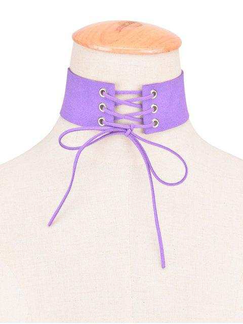 sale Faux Leather Velvet Bows Choker - PURPLE  Mobile