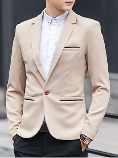 One-Button Metall verschönert Revers Langarm Abnehmen Blazer - Khaki 2XL Mobile