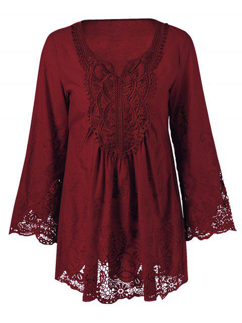 womens Lace Trim Tunic Blouse - WINE RED 3XL Mobile