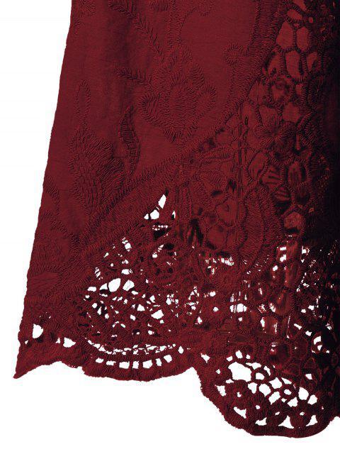 Blouse à manches évasées avec décoration dentelle - Rouge vineux  3XL Mobile