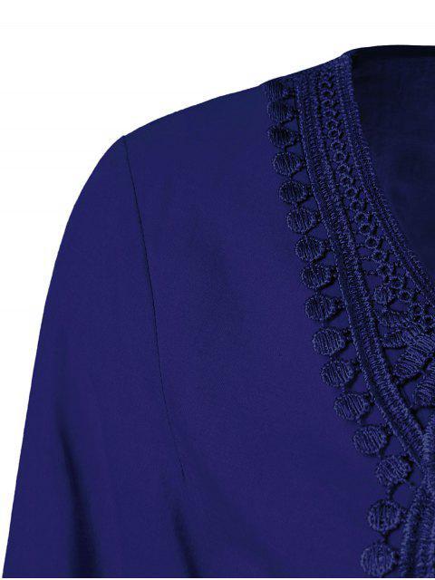 Blouse à manches évasées avec décoration dentelle - Bleu Foncé XL Mobile