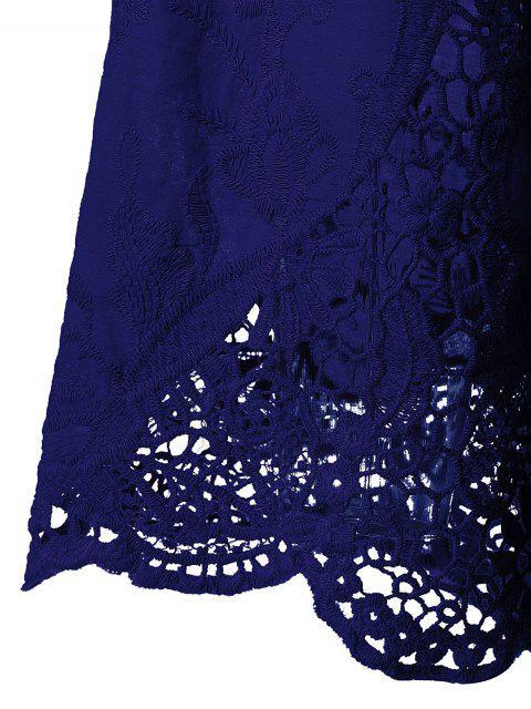 shops Lace Trim Tunic Blouse - DEEP BLUE XL Mobile