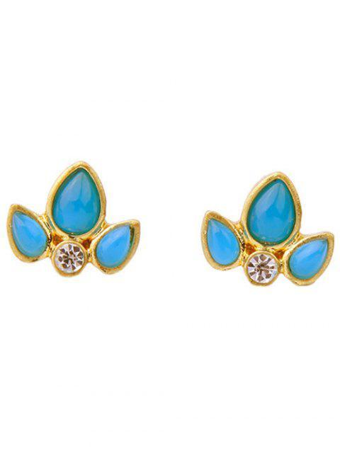 buy Rhinestone Leaf Stud Earrings - BLUE  Mobile