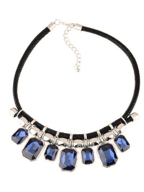 lady Faux Crystal Leather Alloy Geometric Necklace - BLUE  Mobile